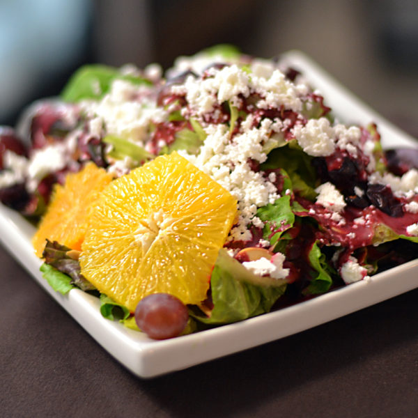 Artisan lettuce, red onion, feta, sliced almond with a house-made partridgeberry vinaigrette