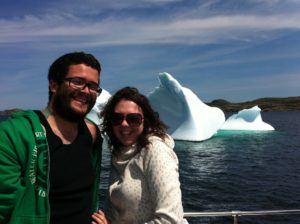 Enjoying an iceberg boat tour in Twillingate.