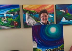 Artist Cara Kansala with unique series of Twillingate paintings, acrylic on canvas.