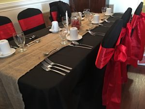 Table set for a special dinner at Georgie's Restaurant.