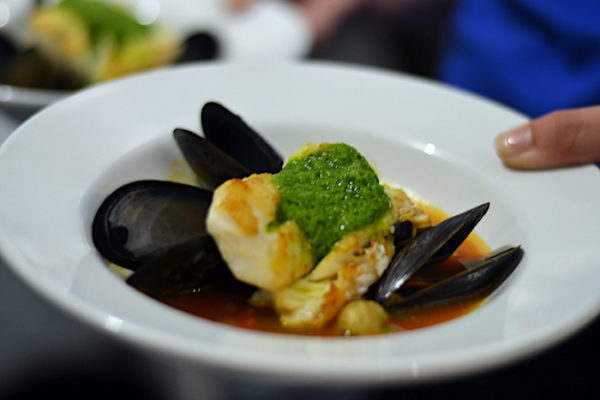 Local mussels and cod.