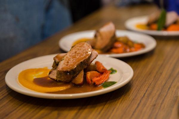 Pork Tenderloin dish at Georgie's Restaurant, Anchor Inn Hotel Twillingate