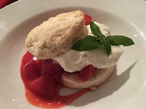 Strawberry shortcake for dessert.