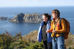 Hiking along the trail from the Long Point Lighthouse to Sleepy Cove.