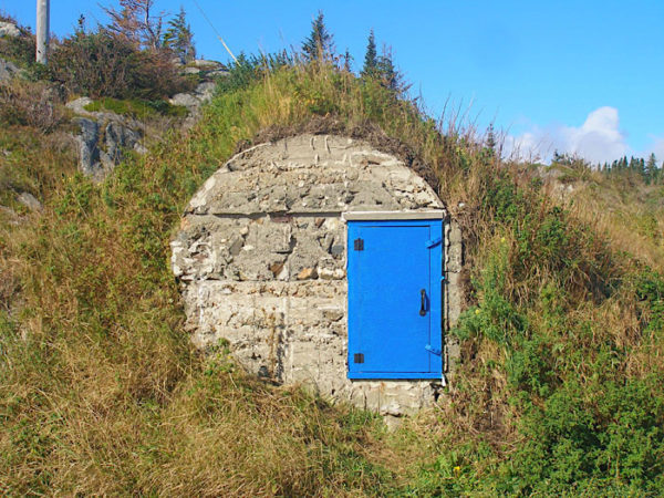 Root Cellar with a very identifiable blue door.