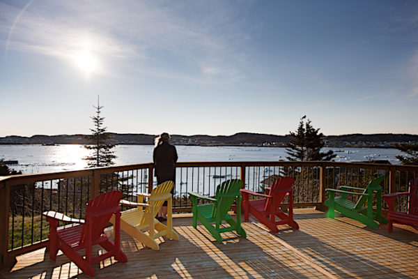Deck at the Anchor Inn Hotel's Hilltop Suites, overlooking Twillingate Harbour