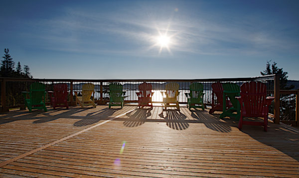 Large deck at the Anchor Inn Hotel's Hilltop Suites overlook Twillingate Harbour.