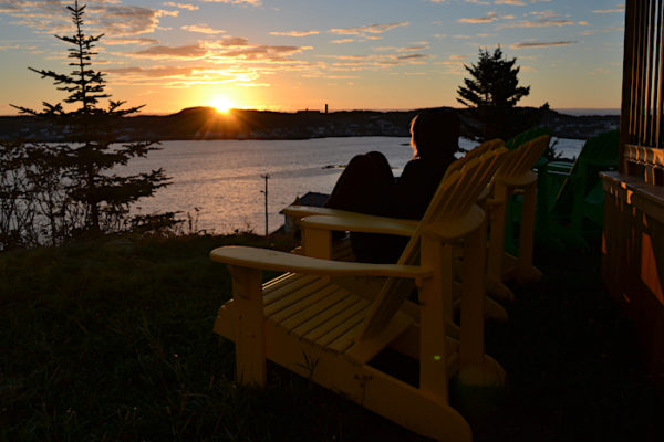 Watching the sunrise from the Anchor Inn Hilltop Suites.